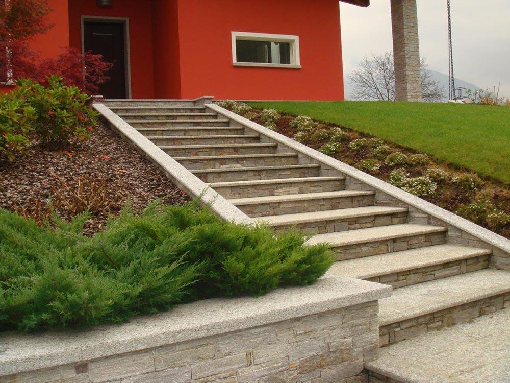 spesso Scalini pietra su misura levigatura antiscivolo per scale da esterno LO54